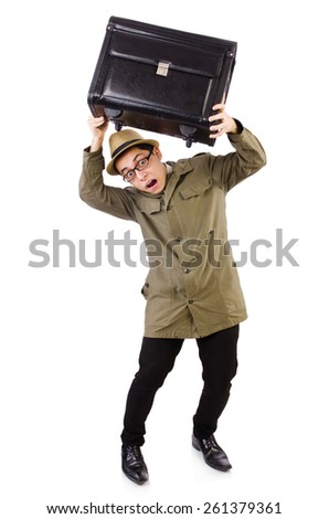Young man with briefcase isolated on white - stock photo
