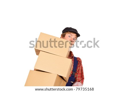Young man with cap carrying parcels - isolated - stock photo
