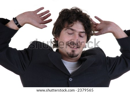 young man with closed eyes in white background