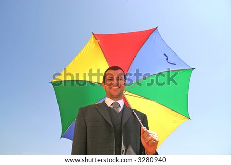 young man with colour umbrella