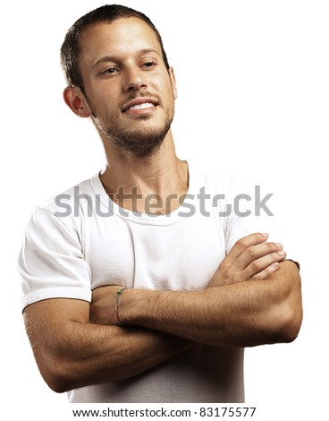 young man with crossed arms on a white background