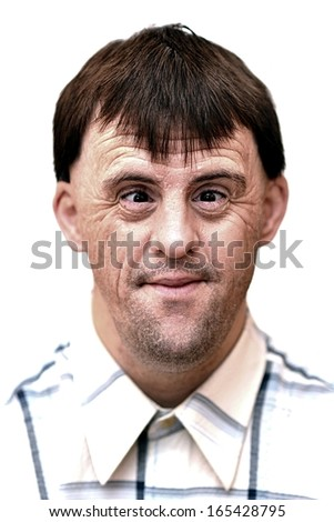 Young man with down syndrome - stock photo