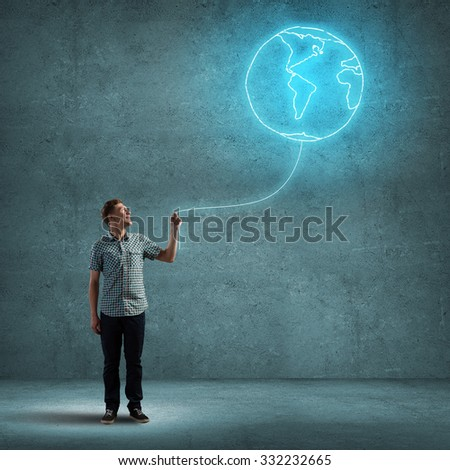 Young man with Eath planet balloon in hand