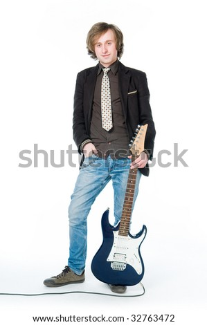 Young man with electro guitar, isolated on white background - stock photo