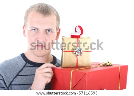 young man with gifts and wedding ring