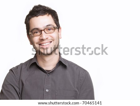Young man with glasses smiling isolated on white background