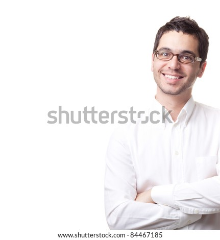 Young man with glasses smiling isolated on white background - stock photo