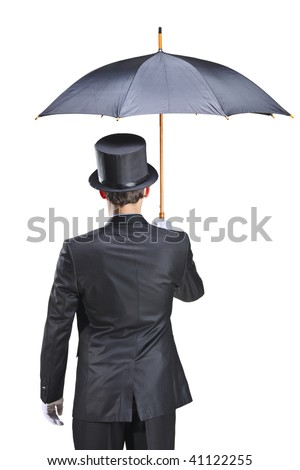 Young man with gloves holding an umbrella isolated on white background - stock photo