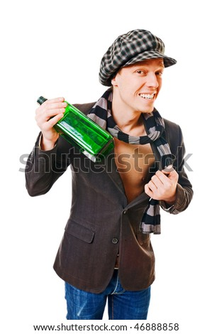 Young man with green bottle on white background