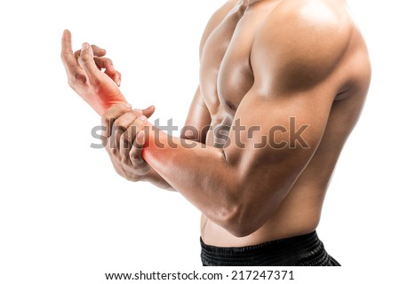 Young man with hand pain,isolated on white background with clipping path - stock photo
