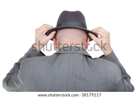 Young man with hat from back isolated - stock photo