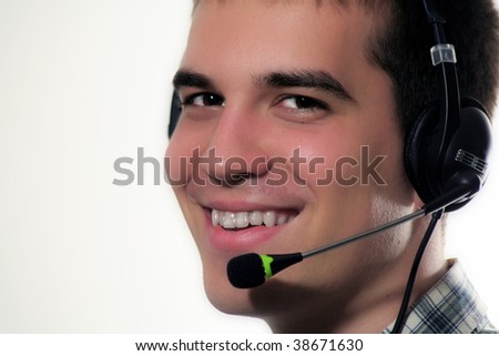 young man with head set - stock photo