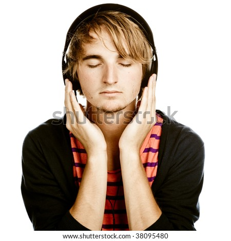 young man with headphones, isolated on a white background