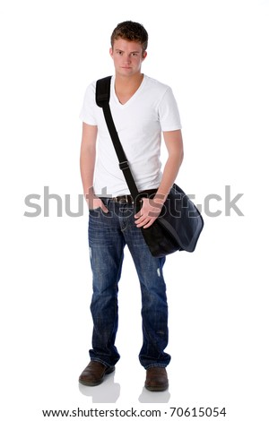 Young man with laptop bag - stock photo