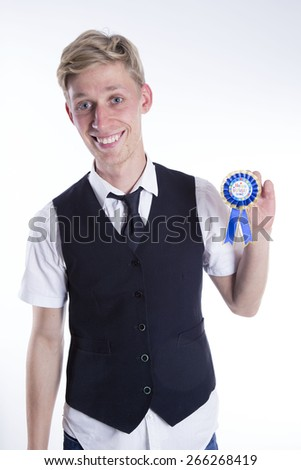 young man with medallion on white background - stock photo