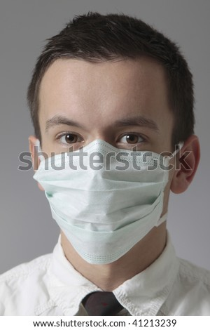young man with medical mask