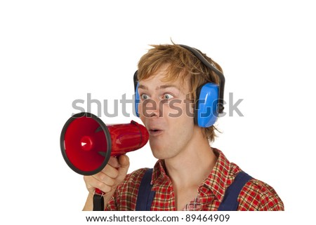 Young man with megaphone isolated on white background - stock photo