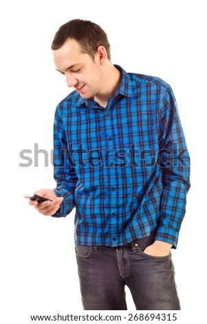 young man with mobile phone isolated on white - stock photo
