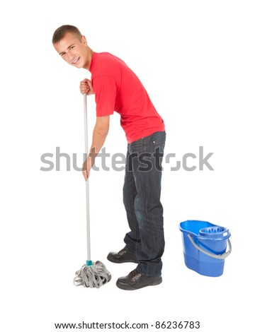 young man with mop and bucket ready to cleaning floor