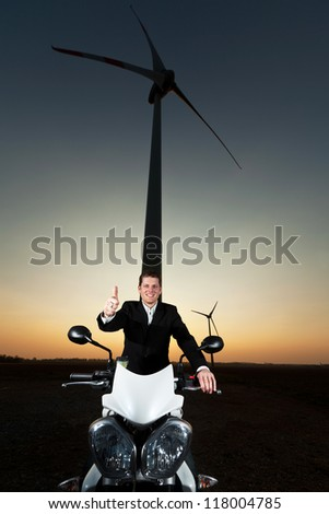 young man with motor bike - stock photo