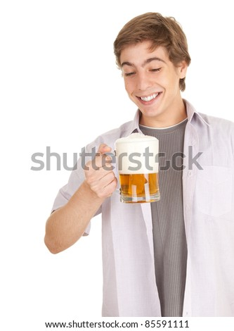 young man with mug of beer, white background, series - stock photo