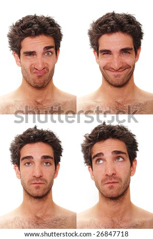 Young man with multiple face expressions - stock photo