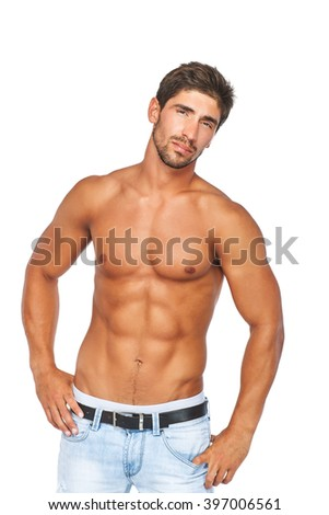 Young man with muscular naked torso. Isolated on white background. - stock photo