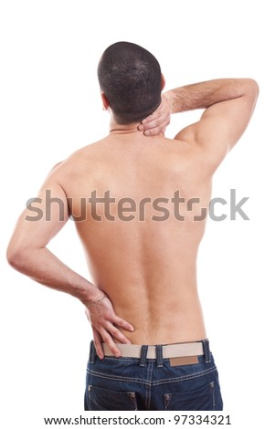 Young man with neck pain - stock photo