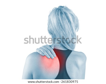 Young man with neck pain.  Medical concept  - stock photo