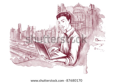 young man with notebook on background of city scape