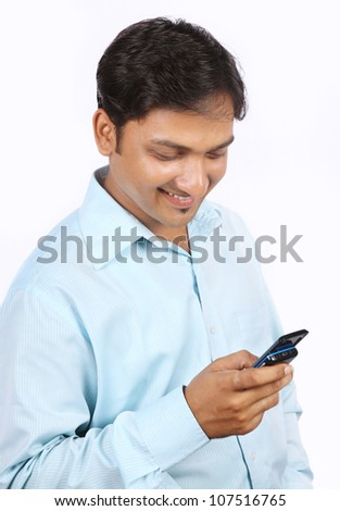 young  Man with  phone - stock photo