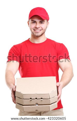 Young man with pizza isolated on white