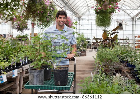 Young man with potted plants on cart at a garden centre