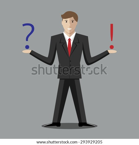 Young man with question and exclamation mark. Making decision, thinking, uncertainty, choice concept - stock photo