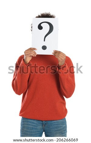 Young Man With Question Mark Signboard Isolated On White Background - stock photo
