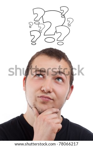 Young man with question signs over his head, in white background - stock photo