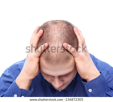 Young man with rare hair depressed. - stock photo