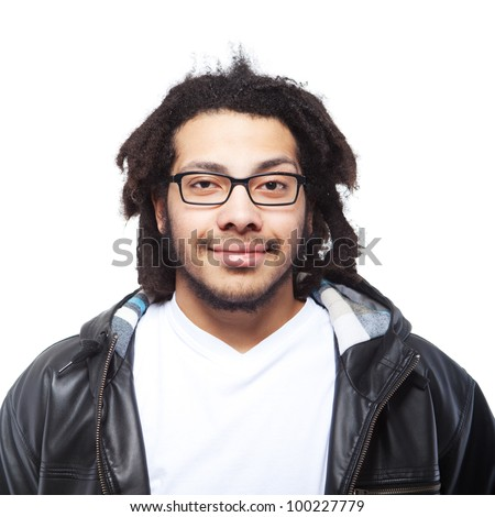 Young man with rasta hair over white background. Isolated Image. - stock photo