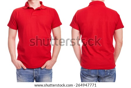 Young man with red polo shirt on a white background  - stock photo