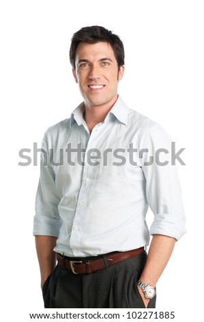 Young man with shirt smiling and looking at camera isolated on white background - stock photo