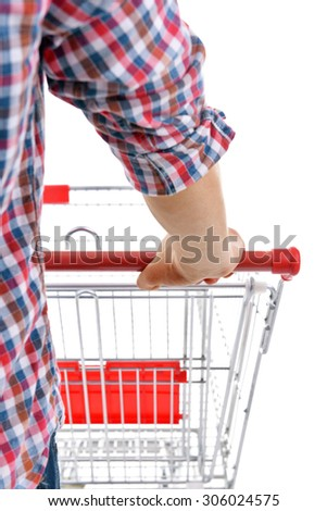 Young man with shopping cart close up - stock photo