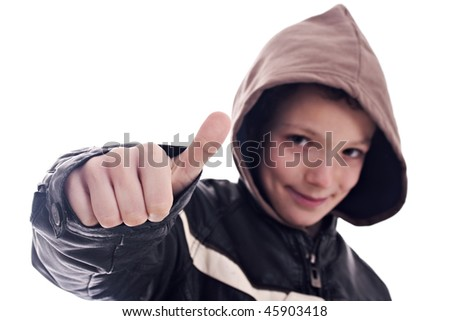 young man, with sign of  ok - stock photo