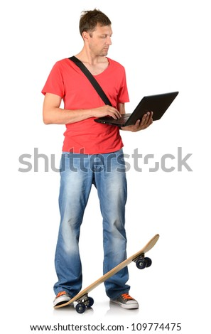 Young man with skateboard and notebook on white background - stock photo