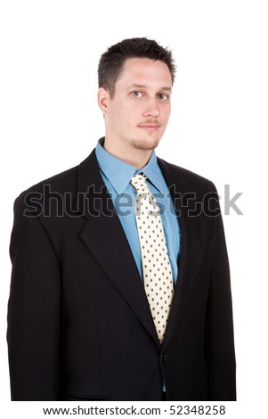 Young man with smart suit, looking at camera