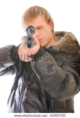 Young man with sniper rifle, isolated on white background. - stock photo