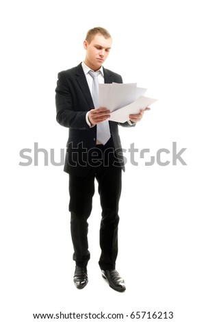 Young man with some documents. Isolated on white. - stock photo