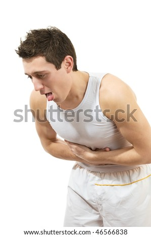 Young man with stomach pain. Isolated over white background - stock photo
