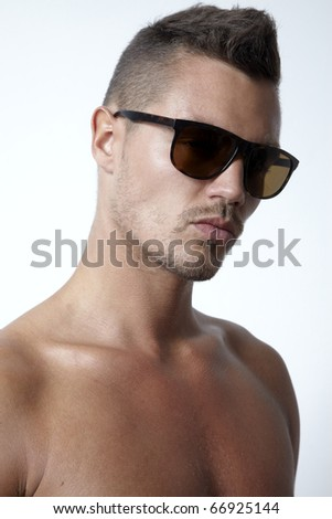 young man with sunglasses portrait
