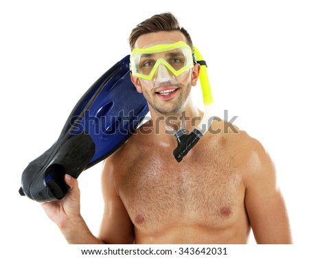 Young man with swimming mask or goggles with flippers, isolated on white - stock photo