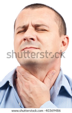 Young man with throat pain isolated on white background